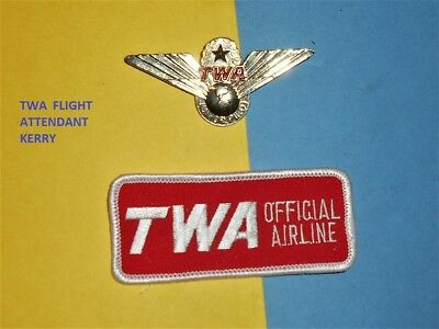 Twa Official Airline Hat Cap Patch 1950 Junior Large Captain Wings Pin Set Lot