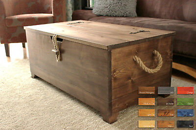 Rustic Wooden Chest Trunk Blanket Box Vintage Coffee Table Ottoman