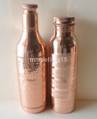 Set Of 2 Pure Copper Handmade Hammered Water Bottle 1L & Jointless Bottle 950 ml