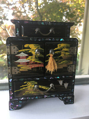 Vintage Antique Art Deco Japanese  Chinoiserie Lacquered Jewelry Box