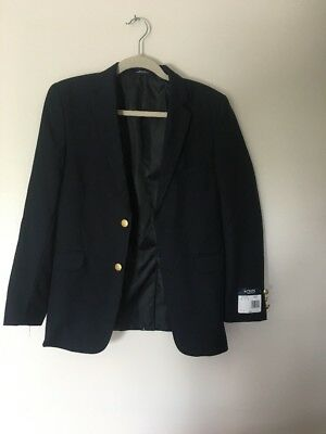 Youth Boys Chaps Navy Blue Long Sleeve Suit Blazer - Size 16 Regular NWT