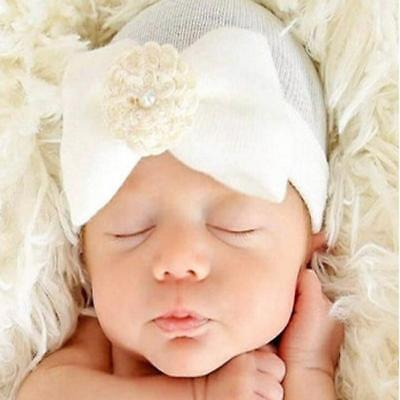 Newborn Baby Infant Girls Toddler Bowknot Hospital Cap Cotton Beanie Hat Cute LH