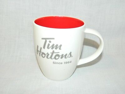 Tim Hortons 2014 Coffee Mug White Red Inside Limited Edition #014 Cup Tea Cafe