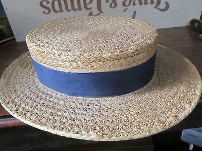 Vintage Ladies School Boater Rigid Straw Hat by Ridgmont  Size 6 1/2