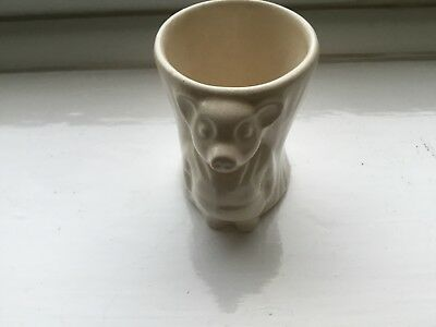 Vintage 50s Keele Street Pottery Pinky & Perky Egg Cup Plain White Collectable