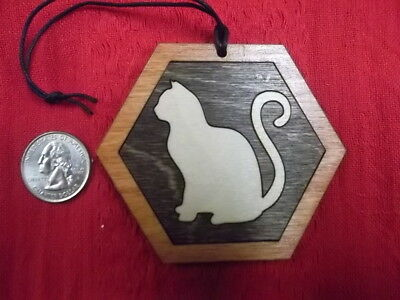 Light Cat with curvy tail ornament Made in USA wood cat ornament for pet lovers