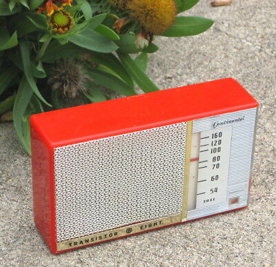 50's Continental 8 transistor radio-TR-300-red & gold-w/leather case & earphone