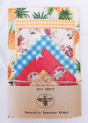 "XXL Set Of 6 ""Eco Habit"" Beeswax Food Wraps, Zero Waste, Handmade, Biodegradable"