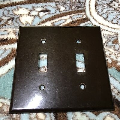 Vintage LEVITON Smooth Brown BAKELITE Double Light Switch Plate Cover