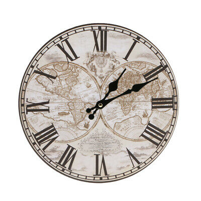 11.8'' Dia Large Retro Rustic Wooden Wall Clock Kitchen Shabby Chic Home #1