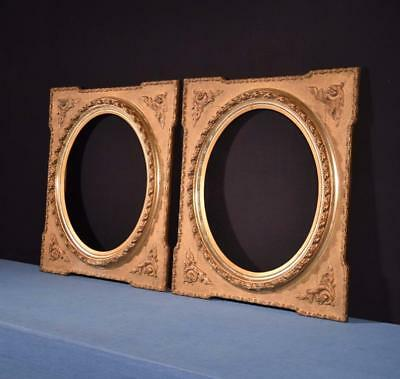 *Pair of French Antique Ornate Gilt Gesso and Wood Mirror/Painting Frames