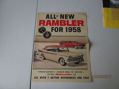 All-New Rambler for 1958  Economy 6; Rebel V-8; Ambassador V-8 brochure