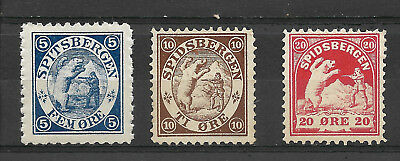 Norway Spitsbergen/Spitzbergen 5(MNH) 10(MNG) 20(MH) øre set, polar bear hunt