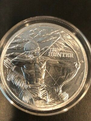 2017 The Hunter Indian / American Bison 1 Try oz .999 Fine Silver Coin BU in Cap