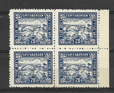 Norway Spitsbergen/Spitzbergen Polar bear hunt 20 øre VF MNH block