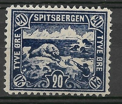 Norway Spitsbergen/Spitzbergen Polar bear hunt 20 øre blue, VLH mint, full gum