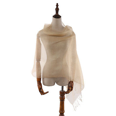 Silk and Viscose Organza Shawl Wrap Scarf Gold with Silver Threads COT611