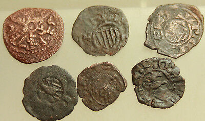 Lot of 6x Medieval AE Coins Italy 13-15 century AD  D=15-16mm