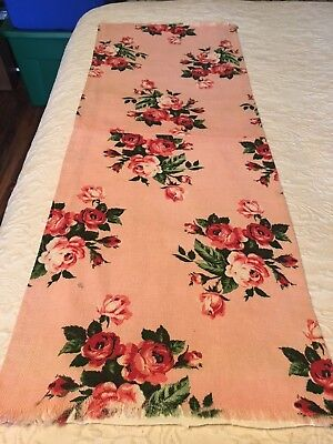 Beautiful Vintage Piece Of Bark Cloth Fabric Shades Of Pink Floral Roses