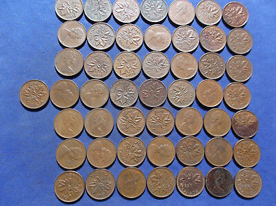 Roll of (50)1969 Canada 1 cents, average circulated condition.