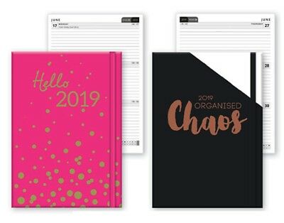 2019 A6 Week To View Softback Diary Christmas Home Office WTV W2V Pink Black