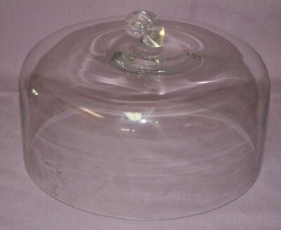"Heavy Clear Glass  Cake Dome 10 3/4""  Cover Lid"