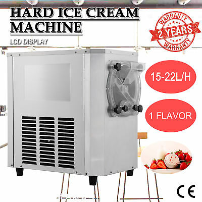 1400W Commercial Frozen Hard Ice Cream Machine Maker 15-22L/H w/ LCD Display.