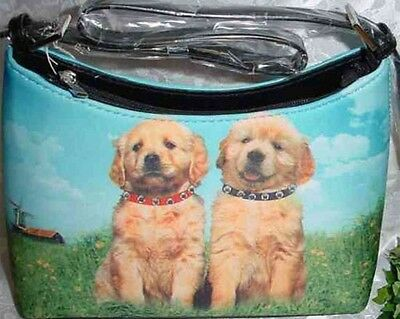 Golden Retriever Pair Dog Theme Hobo Style Microfiber Handbag
