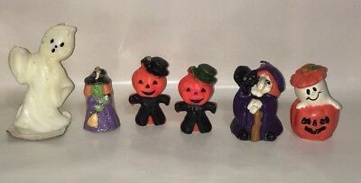 Lot of Vintage Halloween Candles Pumpkinheads Ghost Witch With Black Cat