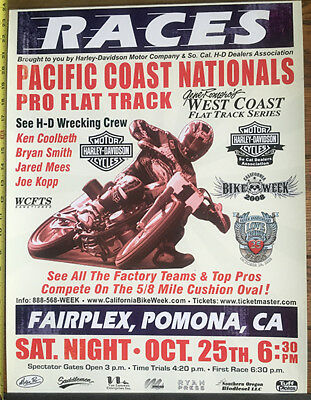 2-Sided Gene Romero Pacific Coast Nationals Flat Track Motorcycle Races H-D