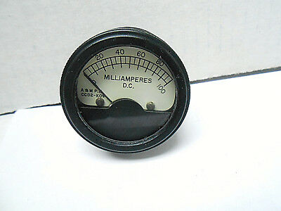 """Ccd2-K09 A&m Ammeter Measures 0-100 Milliamperes D.c 1 1/2"""" Face New Old Stock"""