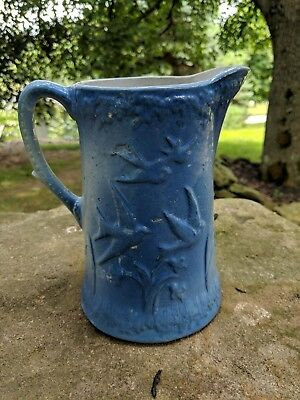 Flying Birds And Love Birds Blue White Antique Stoneware Pitcher