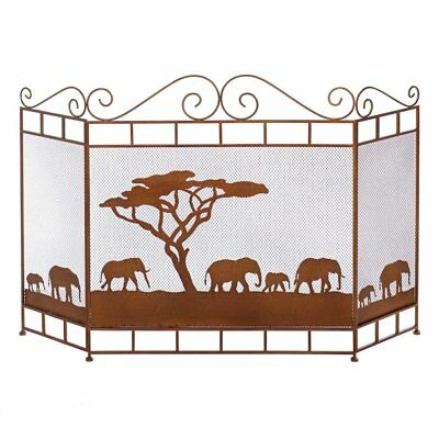 Screen For Fireplace, Wild Savannah Replacement Modern Iron Mesh Screen Fireplac