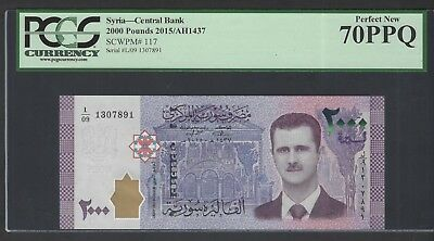 Syria Syrie 2000 Pounds 2015/AH1437 P117 Uncirculated Grade 70
