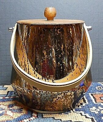 Vintage Mid Century Mottled Gold Mirrored Glass Ice Bucket Wood Top EXCELLENT!