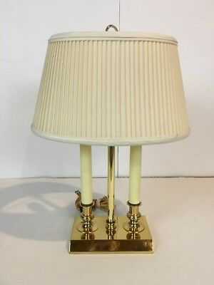 Vintage Brass Bouillotte Desk Table Lamp With Double Candlesticks Robert Abbey