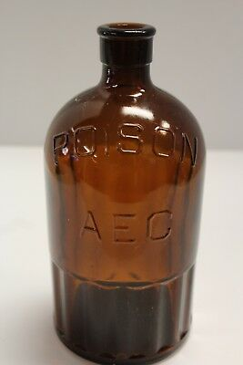 Antique Amber Poison AEC Bottle