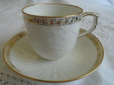 Kpm Berlin Etched Flower & Trimmed With Gold Decoration Demitasse Cup & Saucer.