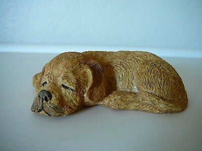 Cute Sandicast Sleeping Golden Retriever Puppy Sculpture-Sandra Brue