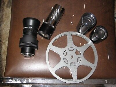 "Vintage Movie Projector / Tv Lens Lot 4 Lens Canon Tv Zoom Sve 5"" Focus + Reel!"