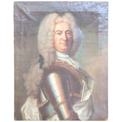 18th Century Antique French Oil Painting Portrait of a Noble Man with Armor
