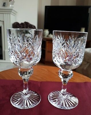 "Pair Of Bridge Crystal Wine Glasses 6.25"" - Excellent"