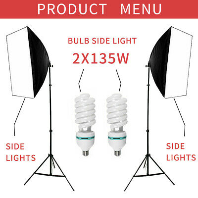 2 x 135W Photo Studio Softbox Kit Continuous Lighting Video Light Soft Box Stand