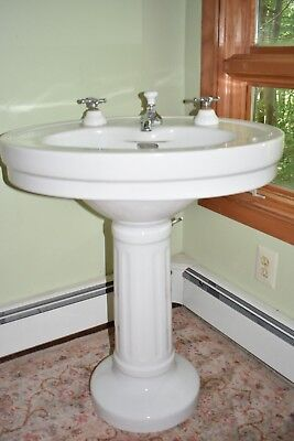 Porcelain Sink Vintage Standard White Pedestal From Nyc Early 20Th Century