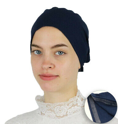 Muslim Women's Islamic Turkish Cap Modefa Non-Slip Cotton Bonnet - Navy Blue