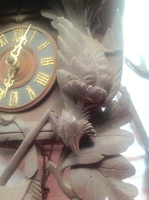 German Black Forest Cucko Clock Carved Hunter Style, Parts or Repair