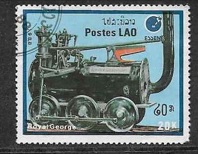 Postes Lao - India Issue 1988 Used Commemorative Stamp Locomotives Royal George