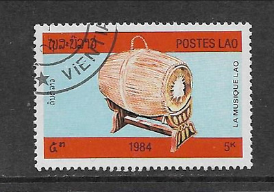 Postes Lao Issue 1984 Used Commemorative Stamp, Musical Instruments, Drum