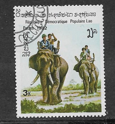 Postes Lao Issue 1982 Used Commemorative Stamp - Indian Elephants