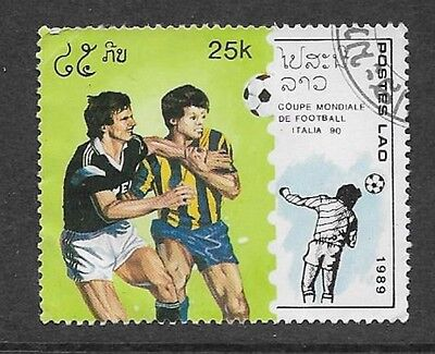 Postes Lao - India Issue 1989 Used Commemorative Stamp World Cup Football 1990